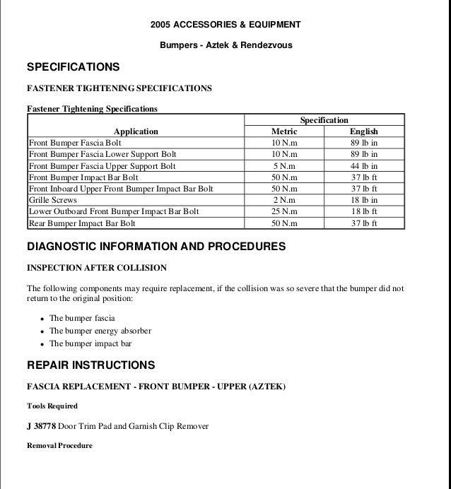 2003 PONTIAC AZTEK Service Repair Manual on