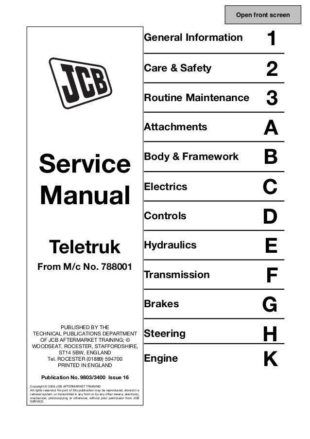 JCB 3 0D 4×4, 3 5D 4×4 TELETRUK Service Repair Manual SN
