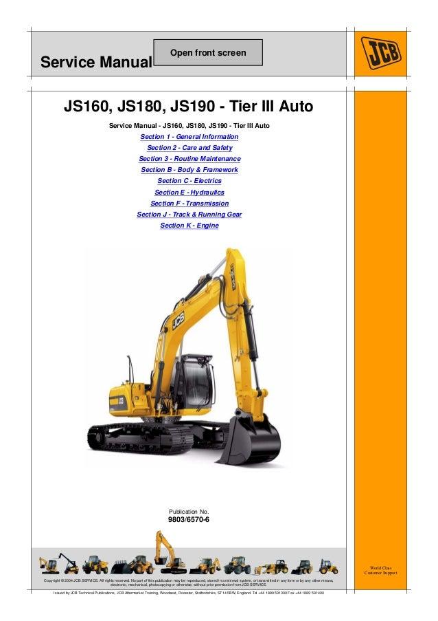 jcb js190 auto tier3 tracked excavator service repair manual sn 13141 rh slideshare net JCB Forklift Parts JCB Parts Manual