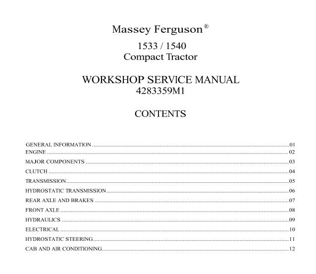 Mey Ferguson MF1540 Tractor Service Repair Manual on