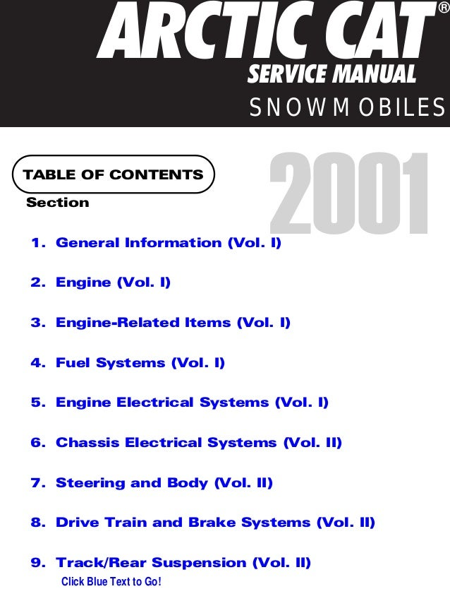 2001 Arctic Cat Mountain Cat 800 LE SNOWMOBILE Service Repair Manual