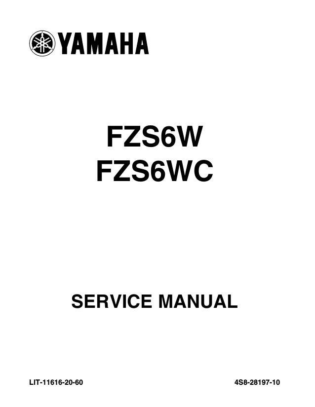 2008 Yamaha FZ600 FZS6W Service Repair Manual