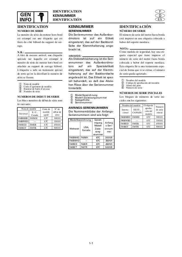 YAMAHA F40BED, F40ER OUTBOARD Service Repair Manual SN:450101