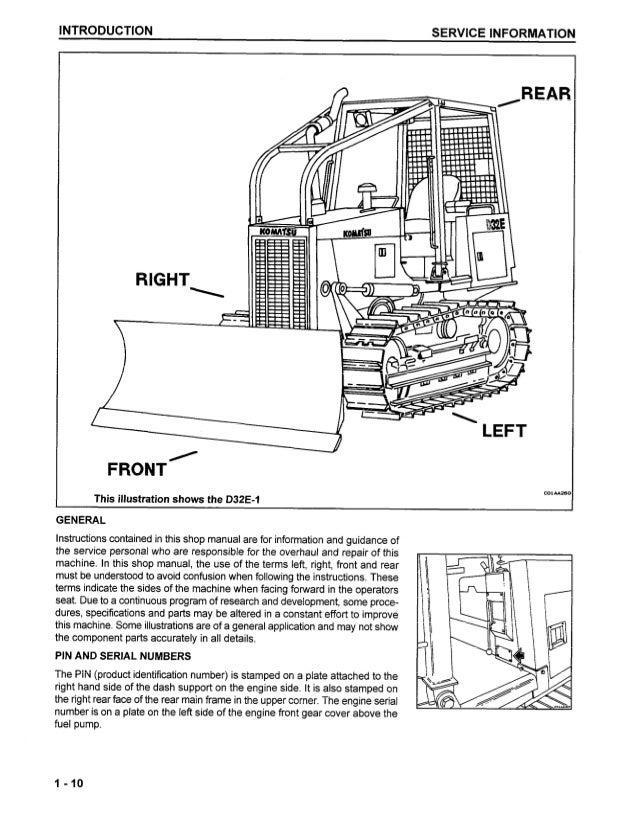 Komatsu D38E-1 Dozer Bulldozer Service Repair Manual S/N