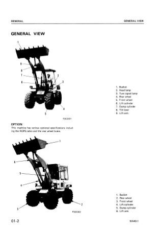 Komatsu WA40-1 Wheel Loader Service Repair Manual SN:1001