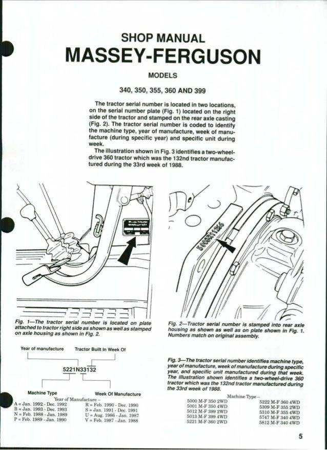 Massey Ferguson Mf340 Tractor Service Repair Manual