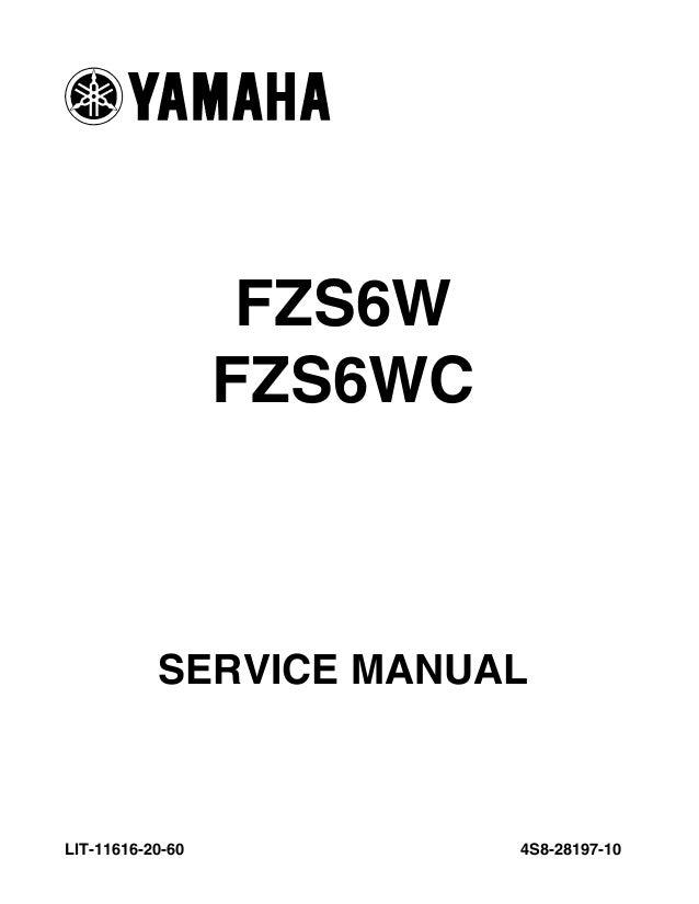 2009 yamaha fz6 service repair manual rh slideshare net fz6 service manual 2006 fz6 service manual download