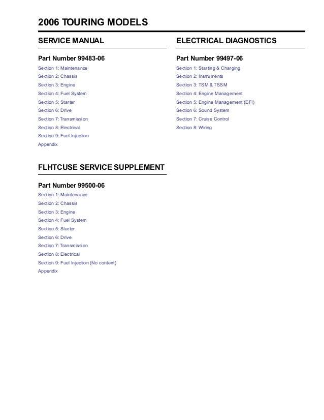2006 Harley-Davidson FLHRS Road King Custom Service Repair Manual on