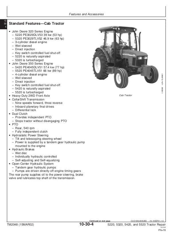 JOHN DEERE 5420 TRACTOR Service Repair Manual