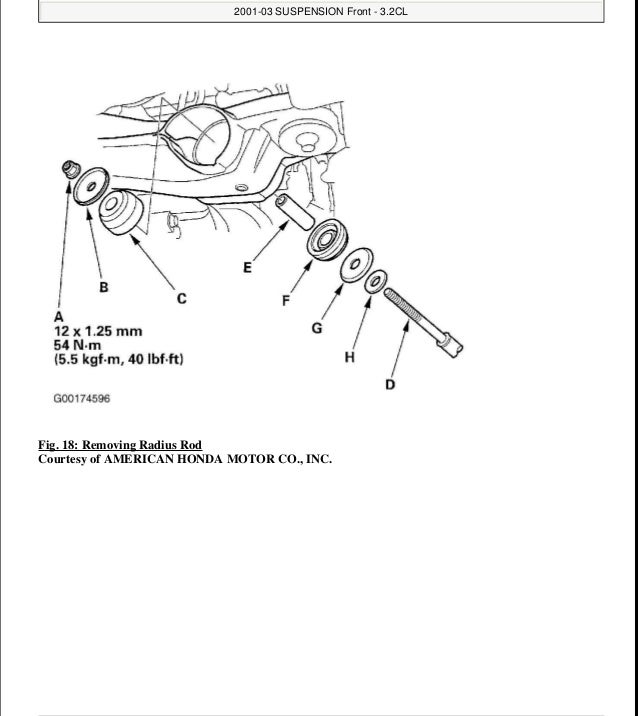2001 ACURA CL Service Repair Manual