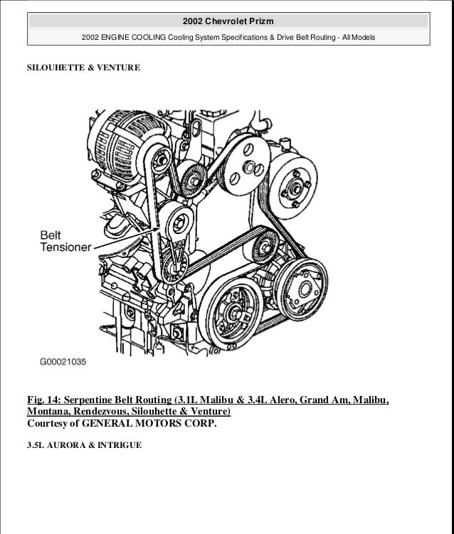 1996 Geo Prizm Serpentine Belt Diagram