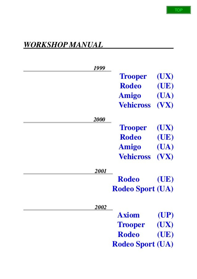 1998 2002 isuzu trooper ubs workshop repair service manual best download