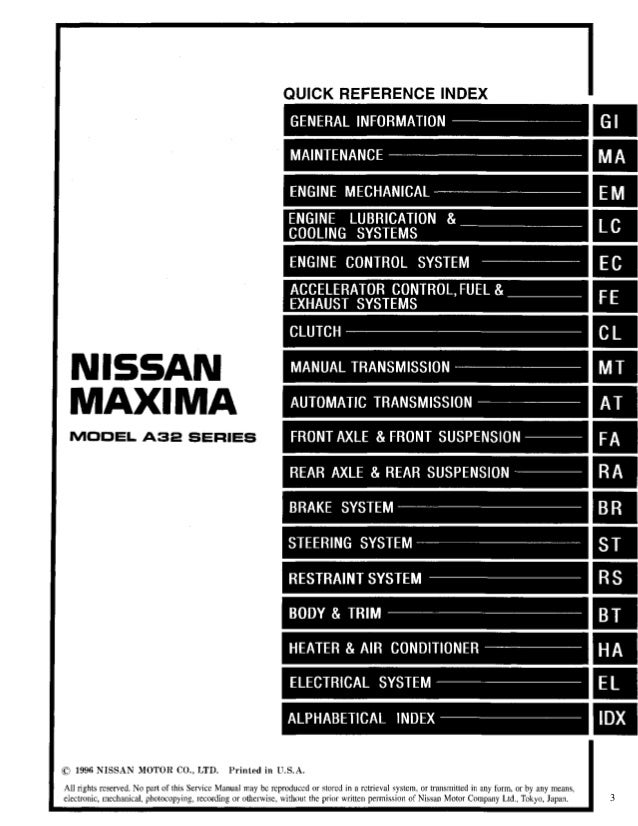 1997 Nissan Maxima Service Repair Manual