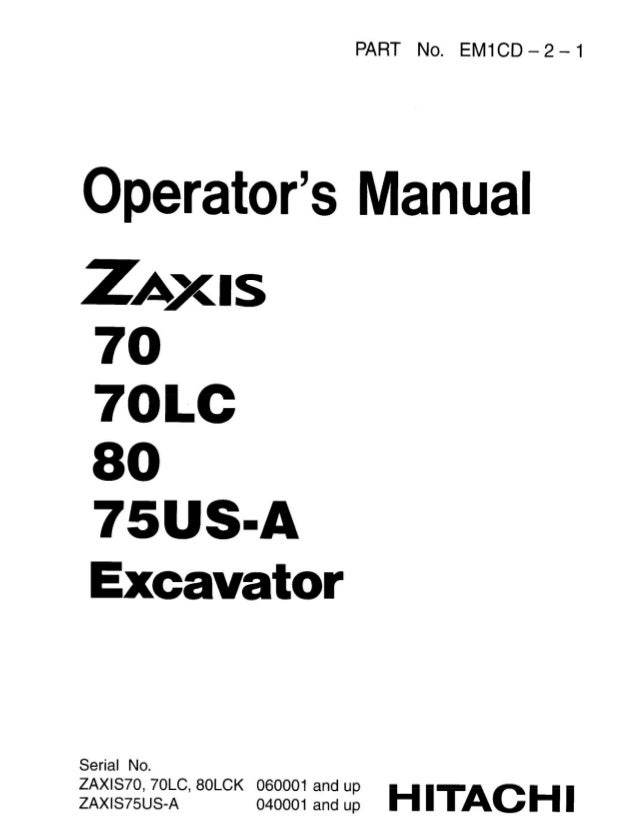 Hitachi Zaxis 80 Excavator Operator S Manual Sn 060001 And Up