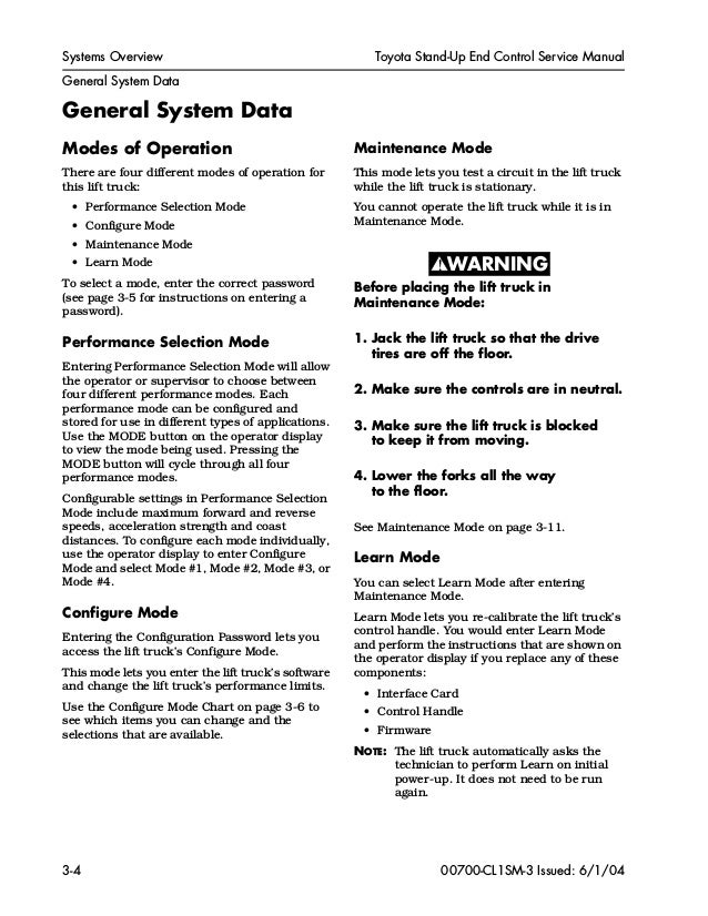 Toyota 7BNCU25 Forklift Service Repair Manual SN:50001 and up