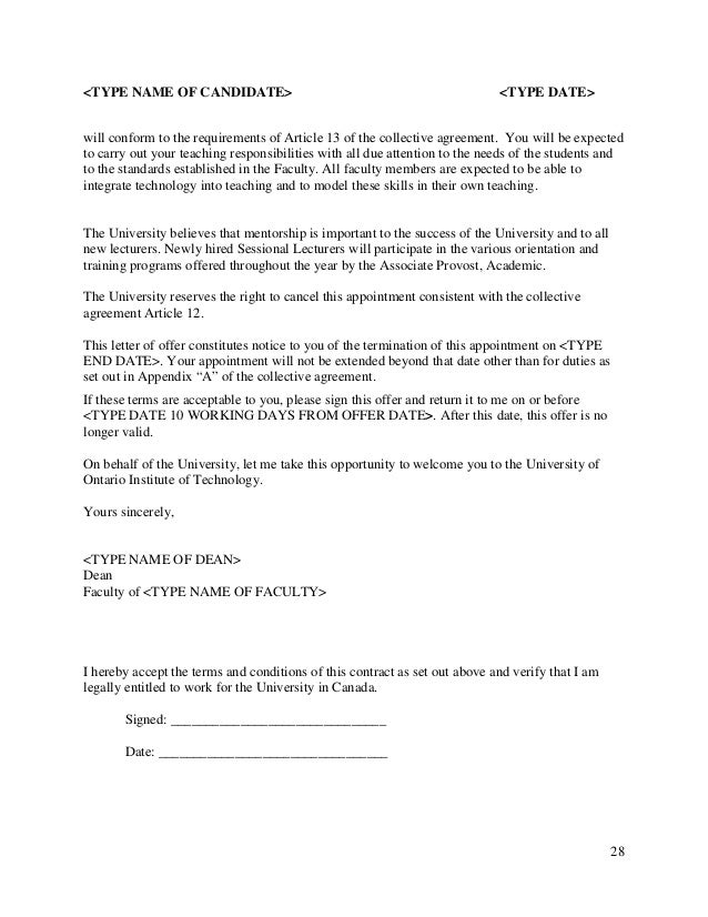 Sessional Faculty Collective Agreement - Expires 2014