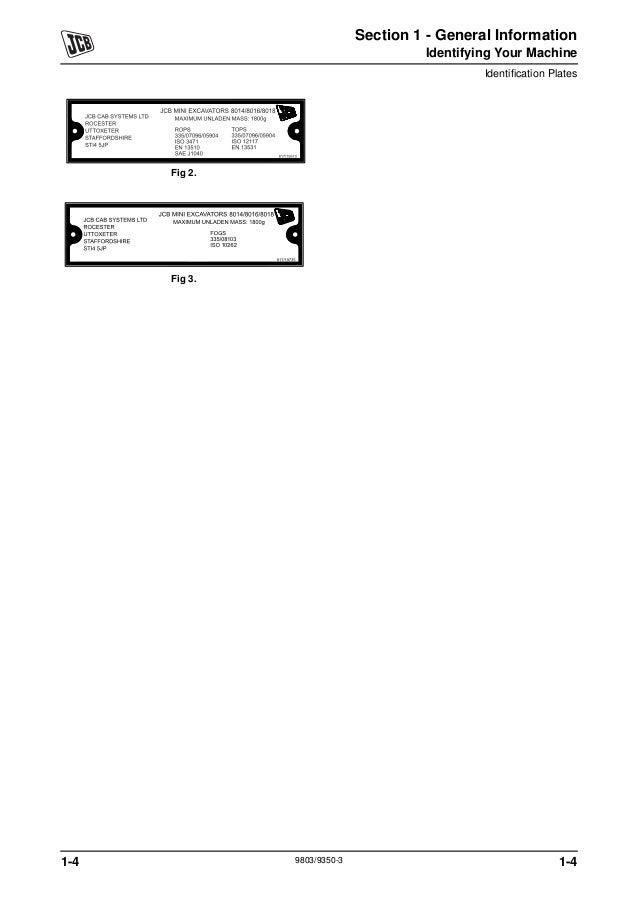 JCB 8014 MINI EXCAVATOR Service Repair Manual SN: 1156000