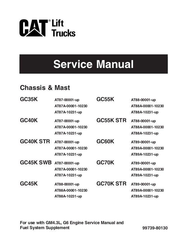 Caterpillar Cat GC70K Forklift Lift Trucks Service Repair Manual SN: …