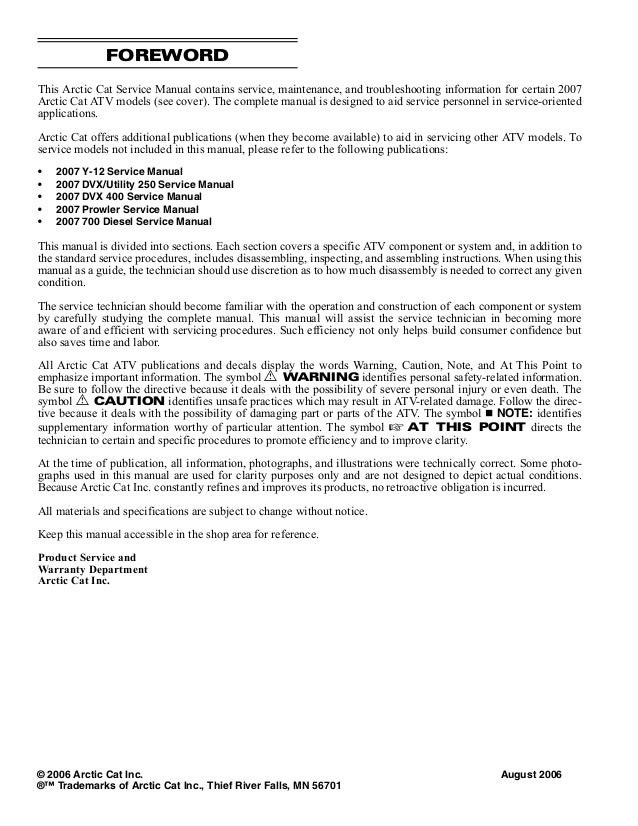 2007 Arctic Cat 700 Efi Atv Service Repair Manual