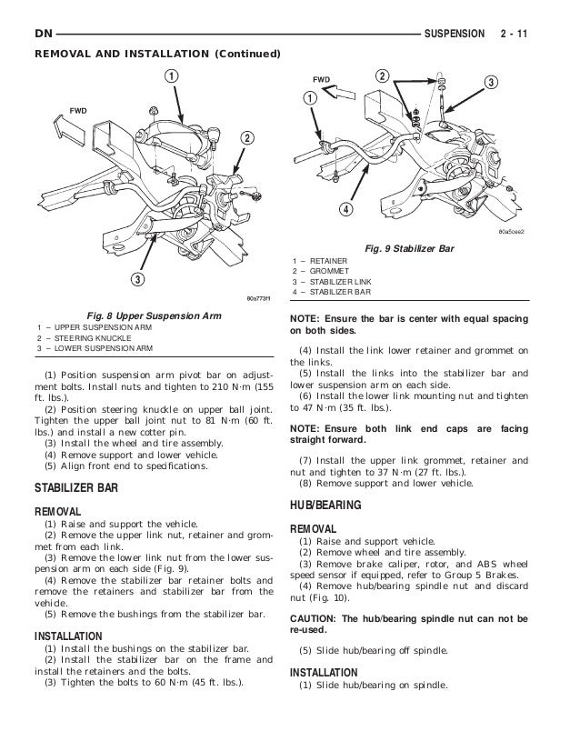 Dodge Durango Service Repair Manual on 2001 Dodge Durango Front Suspension Diagram