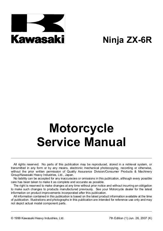 kawasaki zx6r zx600 zx 6r 1998 1999 workshop service manual