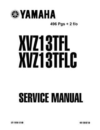 1999 Yamaha XVZ13TFL LC Royal Star Venture Service Repair