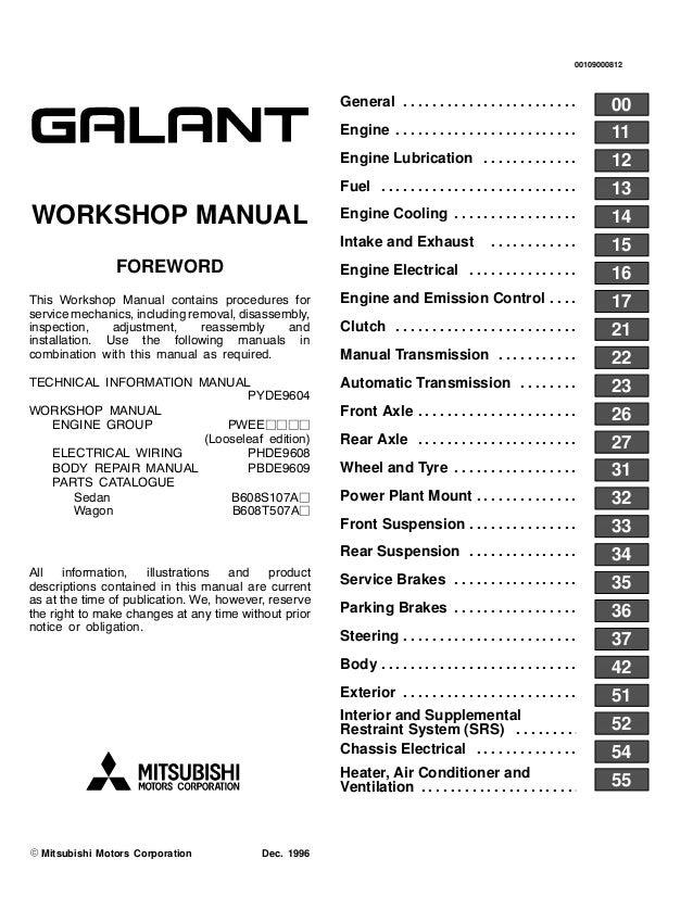 1995 Mitsubishi Galant Service Repair Manual