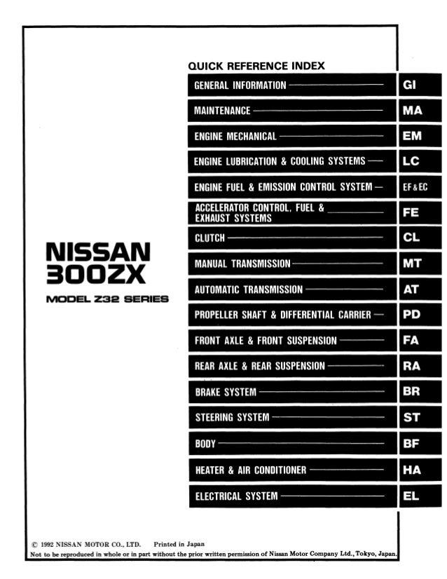 1993 Nissan 300zx Service Repair Manual