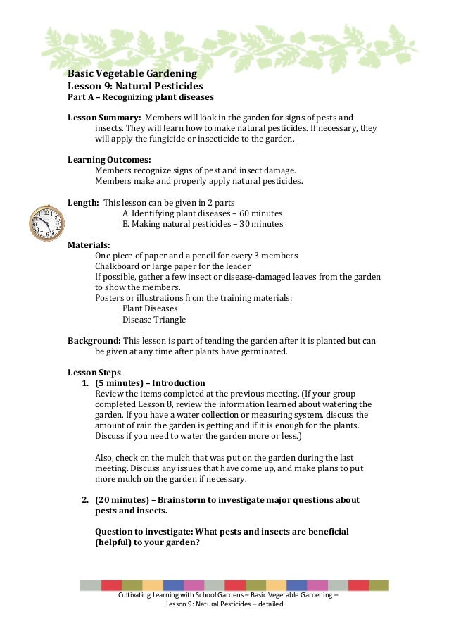 Cultivating Learning With School Gardens U2013 Basic Vegetable Gardening U2013  Lesson 9: Natural Pesticides ...