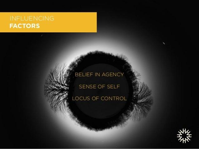 INFLUENCING  FACTORS  TWO MINDSETS:  GENERATIVE + RECEIVING  !  BELIEF IN AGENCY  !  SENSE OF SELF  !  LOCUS OF CONTROL  !