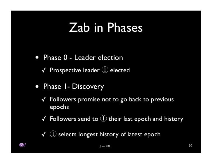 Zab in Phases•   Phase 0 - Leader election    ! Prospective leader          elected•   Phase 1- Discovery    ! Followers p...