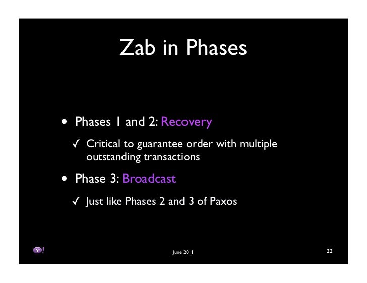 Zab in Phases•   Phases 1 and 2: Recovery    ! Critical to guarantee order with multiple      outstanding transactions•   ...