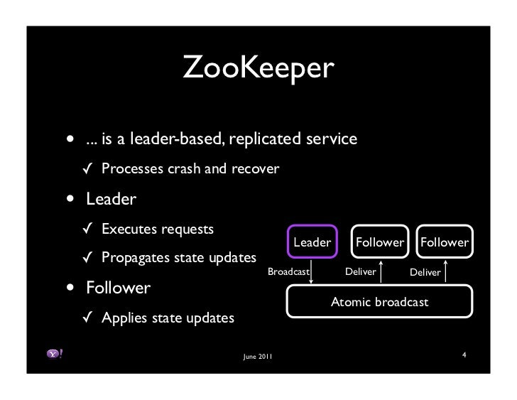 ZooKeeper•   ... is a leader-based, replicated service    ! Processes crash and recover•   Leader    ! Executes requests  ...