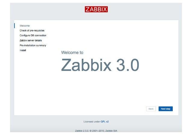 Welcome  Check of pm-requisites Configure DB connedion Zabbix sewer details Pre-lnstalation summary Install  ZABBIX  Welcom...