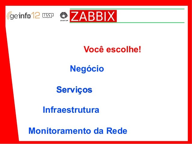 Você escolhe! Negócio Serviços Infraestrutura Monitoramento da Rede
