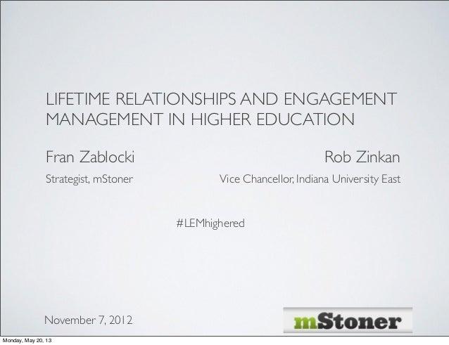 LIFETIME RELATIONSHIPS AND ENGAGEMENTMANAGEMENT IN HIGHER EDUCATIONFran ZablockiNovember 7, 2012Strategist, mStonerRob Zin...