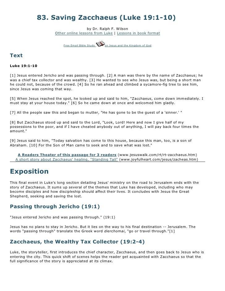 83. Saving Zacchaeus (Luke 19:1-10)                                          by Dr. Ralph F. Wilson                       ...