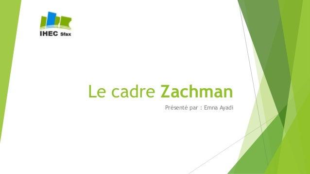 Le cadre Zachman Présenté par : Emna Ayadi