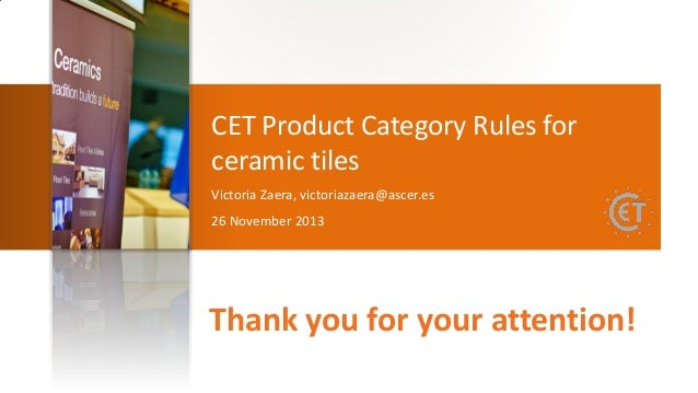 CET Product Category Rules for ceramic tiles\