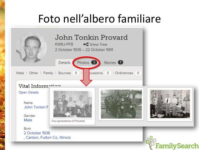 Collegare immagini dei registri nel albero familiare