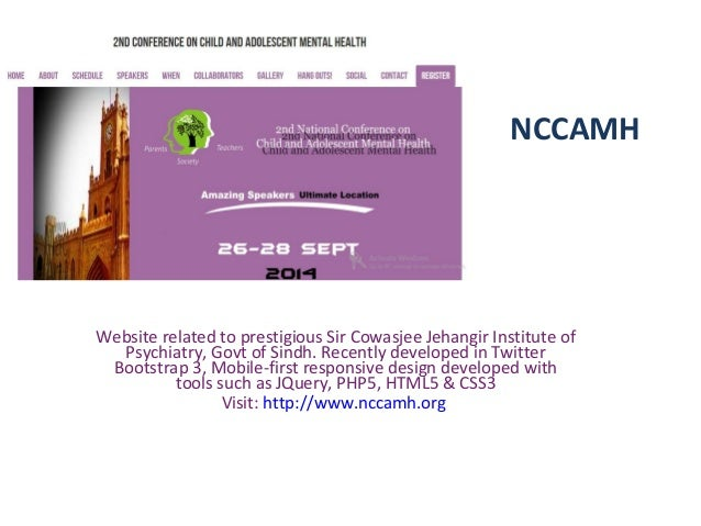 NCCAMH Website related to prestigious Sir Cowasjee Jehangir Institute of Psychiatry, Govt of Sindh. Recently developed in ...