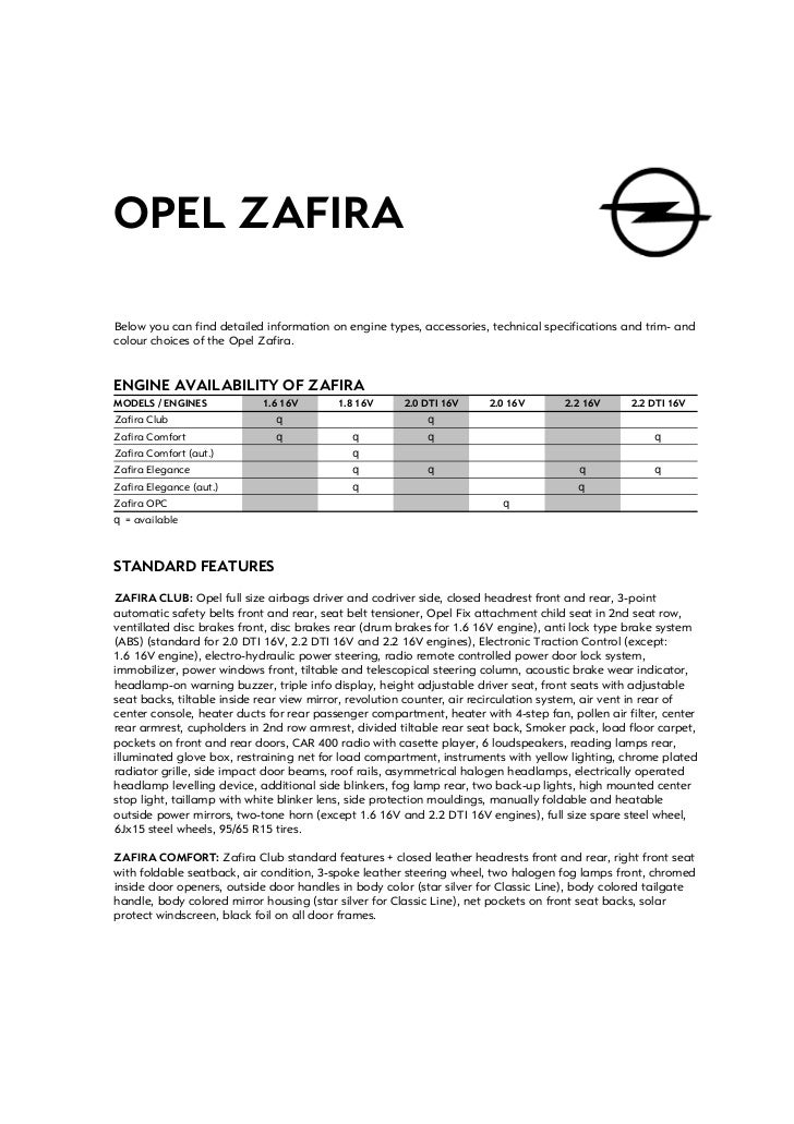 OPEL ZAFIRABelow you can find detailed information on engine types, accessories, technical specifications and trim- andcol...
