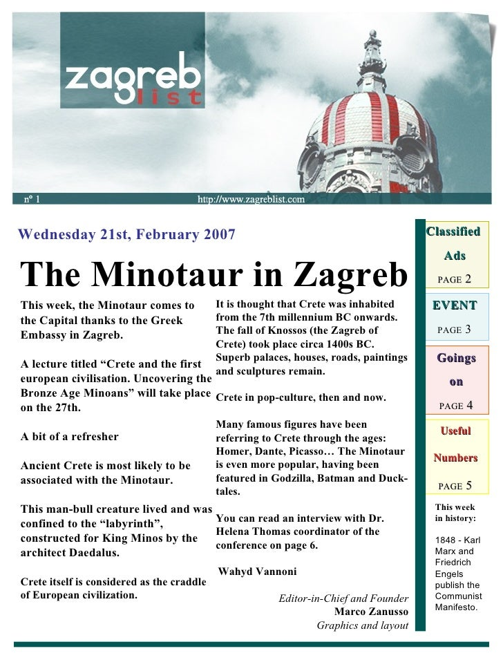 Useful Numbers PAGE  5 The Minotaur in Zagreb Wednesday 21st, February 2007 Classified  Ads PAGE  2 EVENT PAGE  3 Goings o...