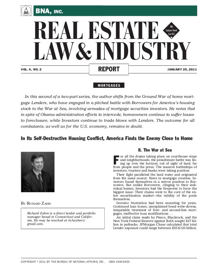 A        BNA, INC.       REAL ESTATE !       LAW & INDUSTRYVOL. 4, NO. 2                                      REPORT      ...