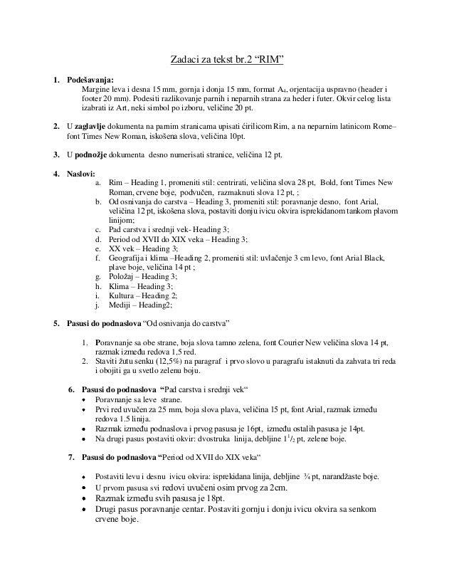 "Zadaci za tekst br.2 ""RIM""1. Podešavanja:      Margine leva i desna 15 mm, gornja i donja 15 mm, format A4, orjentacija us..."