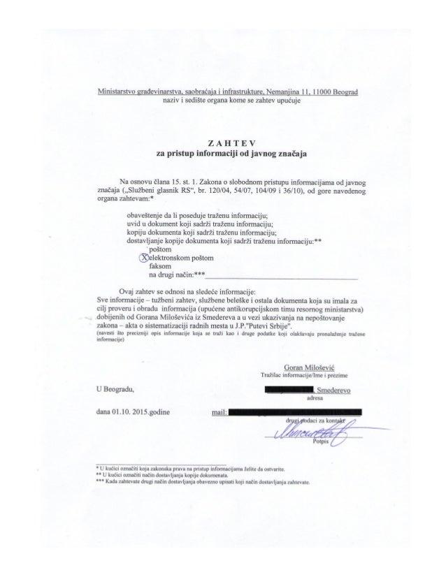 Zahtev za pristup info.od javnog znalčaja -  resorno ministarstvo