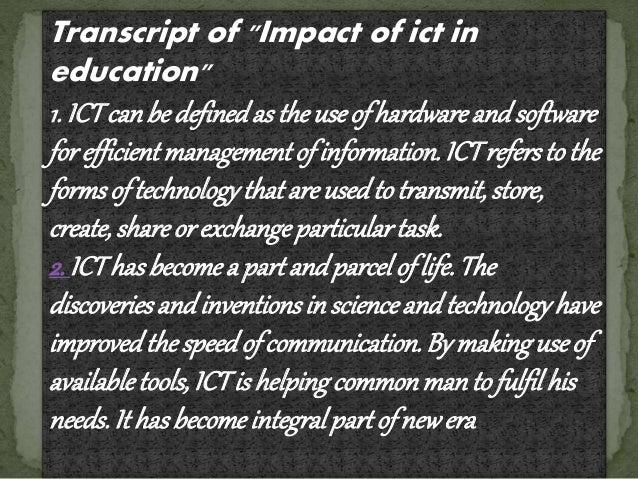 ICT IN EDUCATION Slide 3