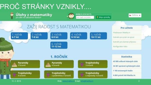 PROČ STRÁNKY VZNIKLY.... 13. 2. 2016 Web: www.matika.in Email: info@matika.in 2