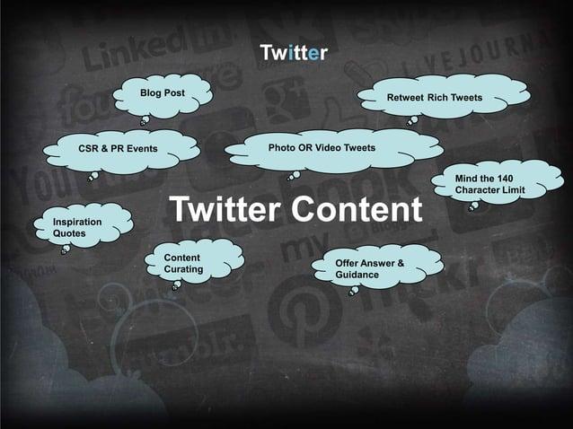 Twitter Blog Post  Retweet Rich Tweets  Photo OR Video Tweets  CSR & PR Events  Mind the 140 Character Limit  Inspiration ...
