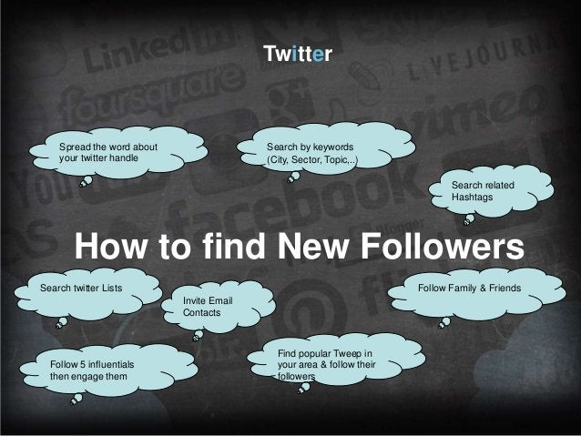 Twitter  Spread the word about your twitter handle  Search by keywords (City, Sector, Topic,..) Search related Hashtags  H...